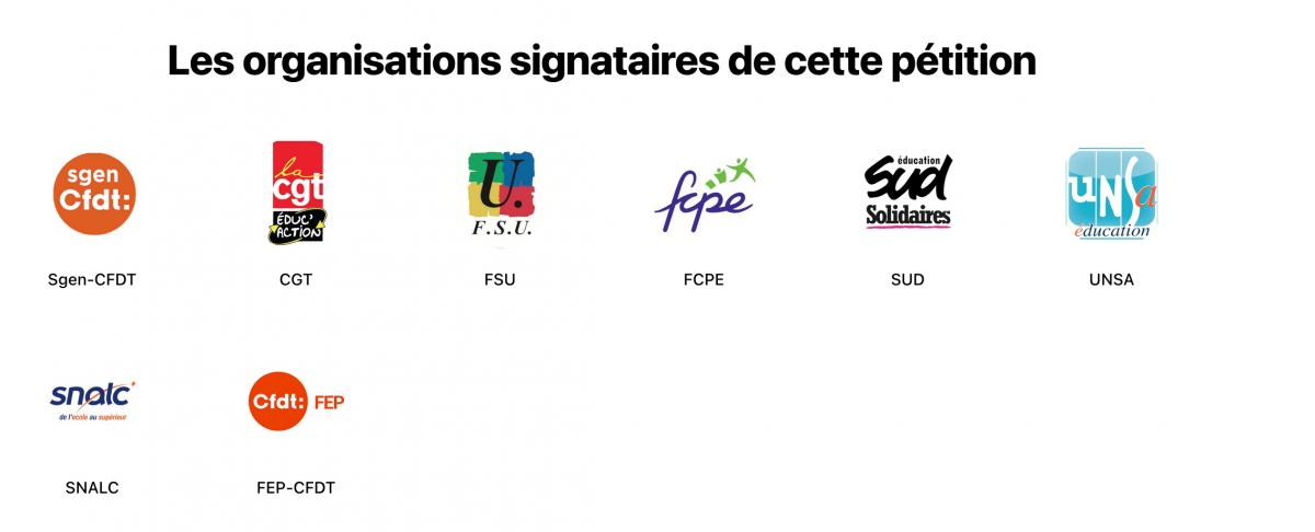 LOGOS DE L'INTERSYNDICALE ÉDUCATION SIGNATAIRE DE LA PÉTITION DU 26 AVRIL 2021