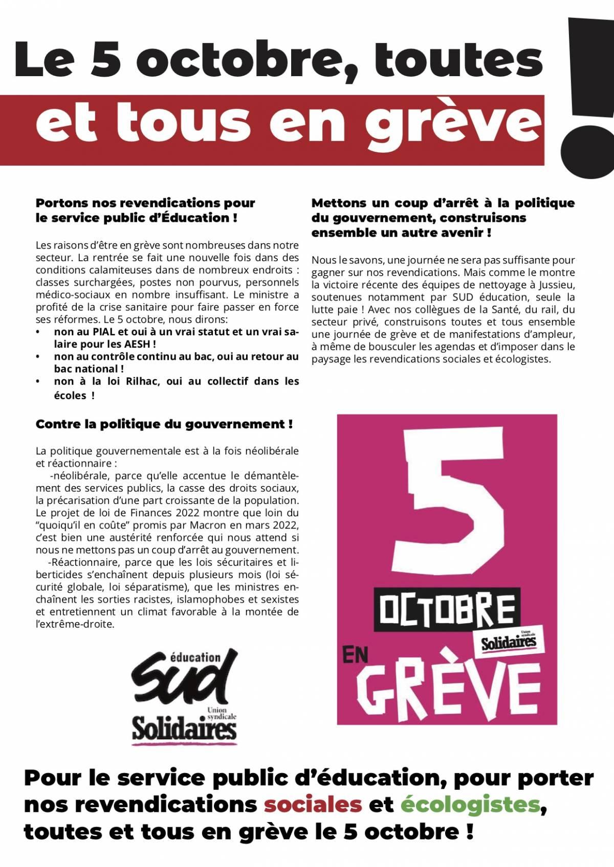 tract fédéral d'appel à la grève et à la manifestation 5 octobre 2021